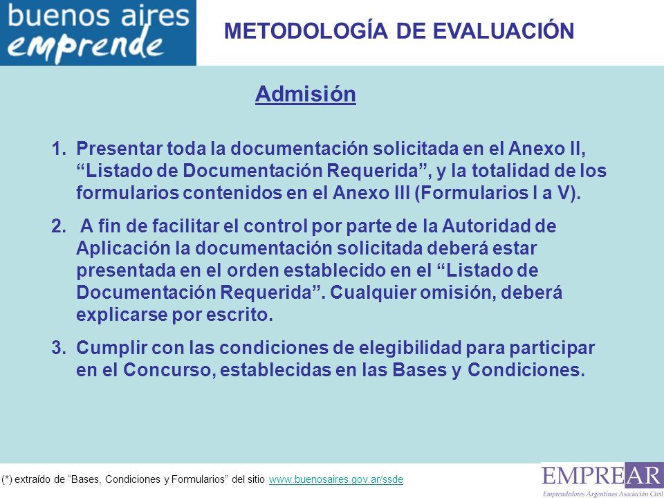 (*) extraído de Bases, Condiciones y Formularios del sitio www.buenosaires.gov.ar/ssdewww.buenosaires.gov.ar/ssde METODOLOGÍA DE EVALUACIÓN Admisión 1.Presentar toda la documentación solicitada en el Anexo II, Listado de Documentación Requerida, y la totalidad de los formularios contenidos en el Anexo III (Formularios I a V).