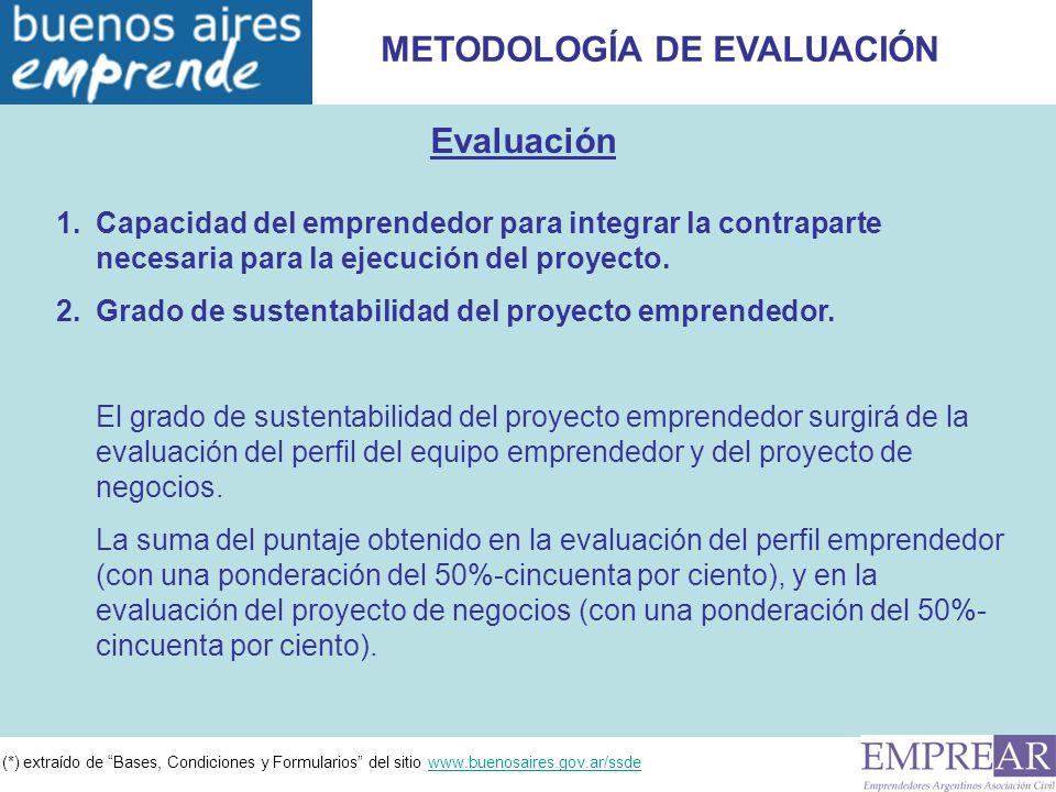 (*) extraído de Bases, Condiciones y Formularios del sitio www.buenosaires.gov.ar/ssdewww.buenosaires.gov.ar/ssde METODOLOGÍA DE EVALUACIÓN Evaluación 1.Capacidad del emprendedor para integrar la contraparte necesaria para la ejecución del proyecto.