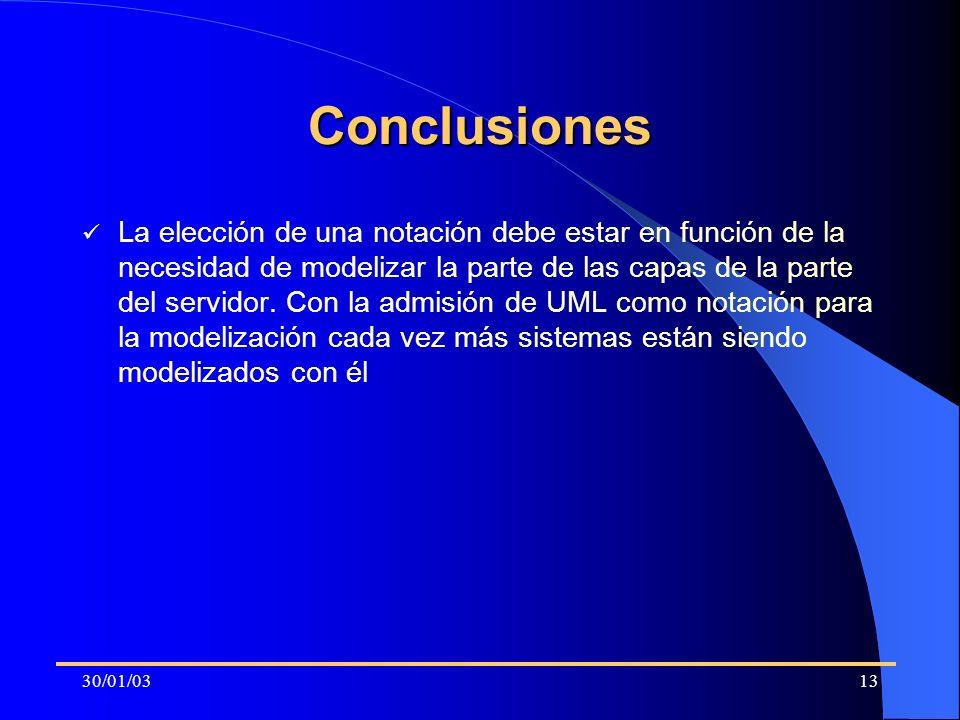 30/01/0313 Conclusiones La elección de una notación debe estar en función de la necesidad de modelizar la parte de las capas de la parte del servidor.