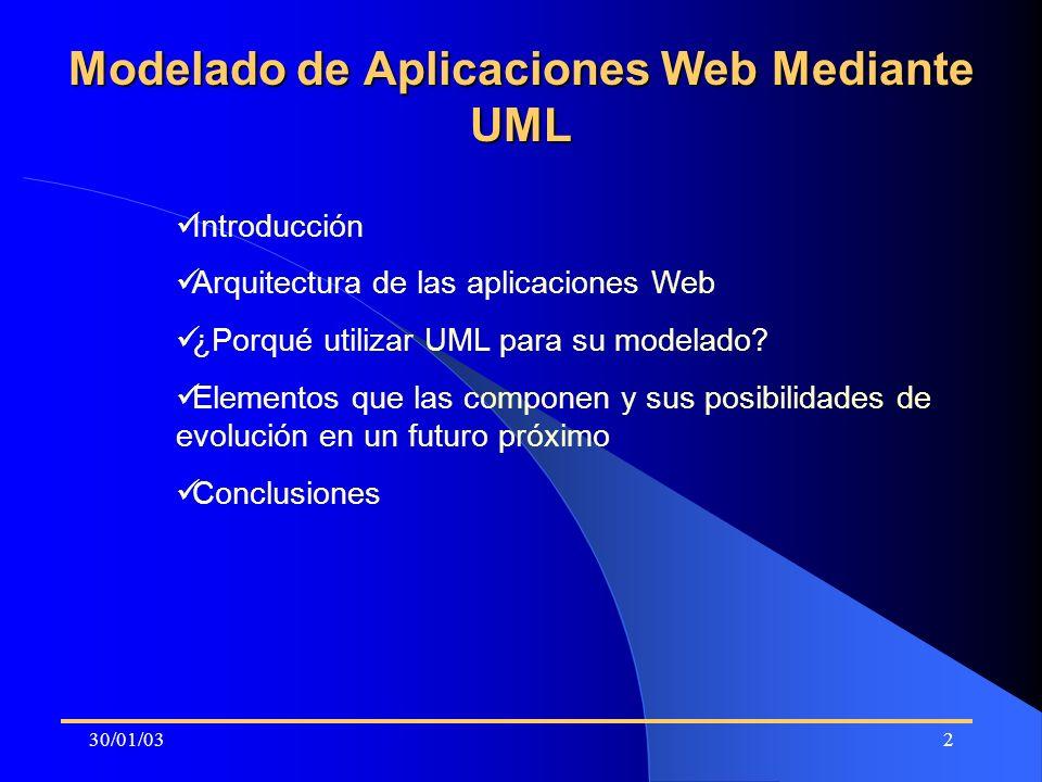 30/01/032 Modelado de Aplicaciones Web Mediante UML Introducción Arquitectura de las aplicaciones Web ¿Porqué utilizar UML para su modelado? Elementos