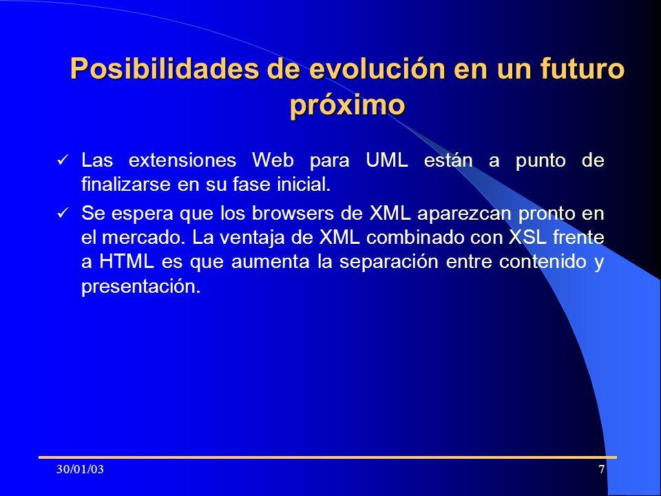 30/01/037 Posibilidades de evolución en un futuro próximo Las extensiones Web para UML están a punto de finalizarse en su fase inicial. Se espera que