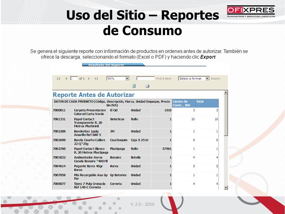 V. 2.0 - 2010 Uso del Sitio – Reportes de Consumo Se genera el siguiente reporte con información de productos en ordenes antes de autorizar. También s