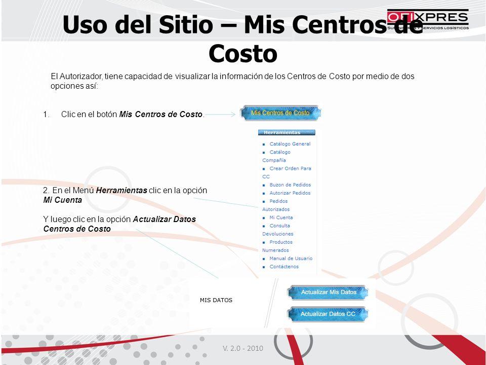 Uso del Sitio – Mis Centros de Costo El Autorizador, tiene capacidad de visualizar la información de los Centros de Costo por medio de dos opciones así: 1.Clic en el botón Mis Centros de Costo.