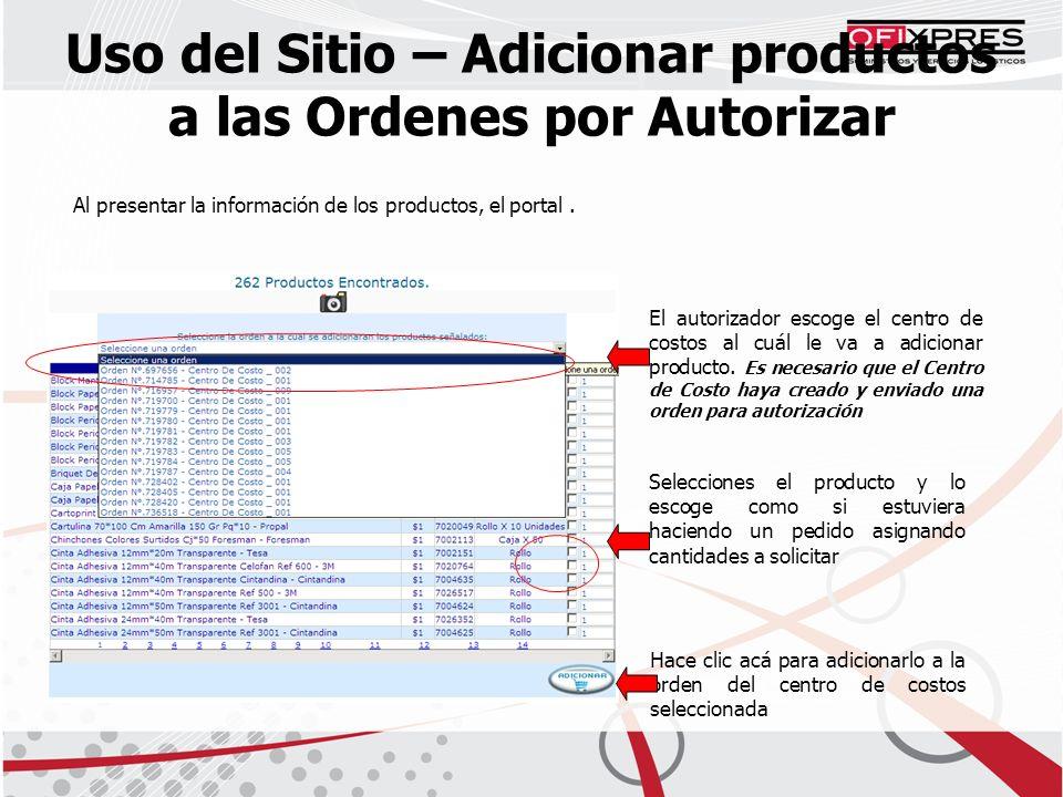 Al presentar la información de los productos, el portal.