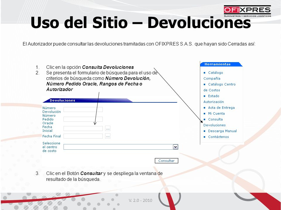 Uso del Sitio – Devoluciones V.