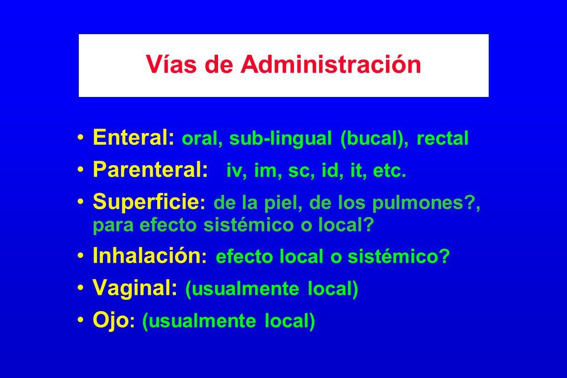 Vías de Administración Enteral: oral, sub-lingual (bucal), rectal Parenteral: iv, im, sc, id, it, etc. Superficie : de la piel, de los pulmones?, para