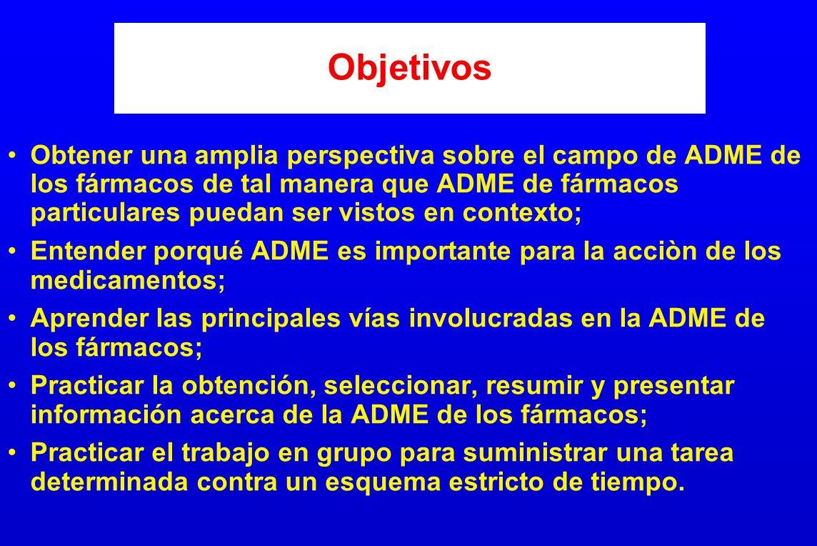 Objetivos Obtener una amplia perspectiva sobre el campo de ADME de los fármacos de tal manera que ADME de fármacos particulares puedan ser vistos en c