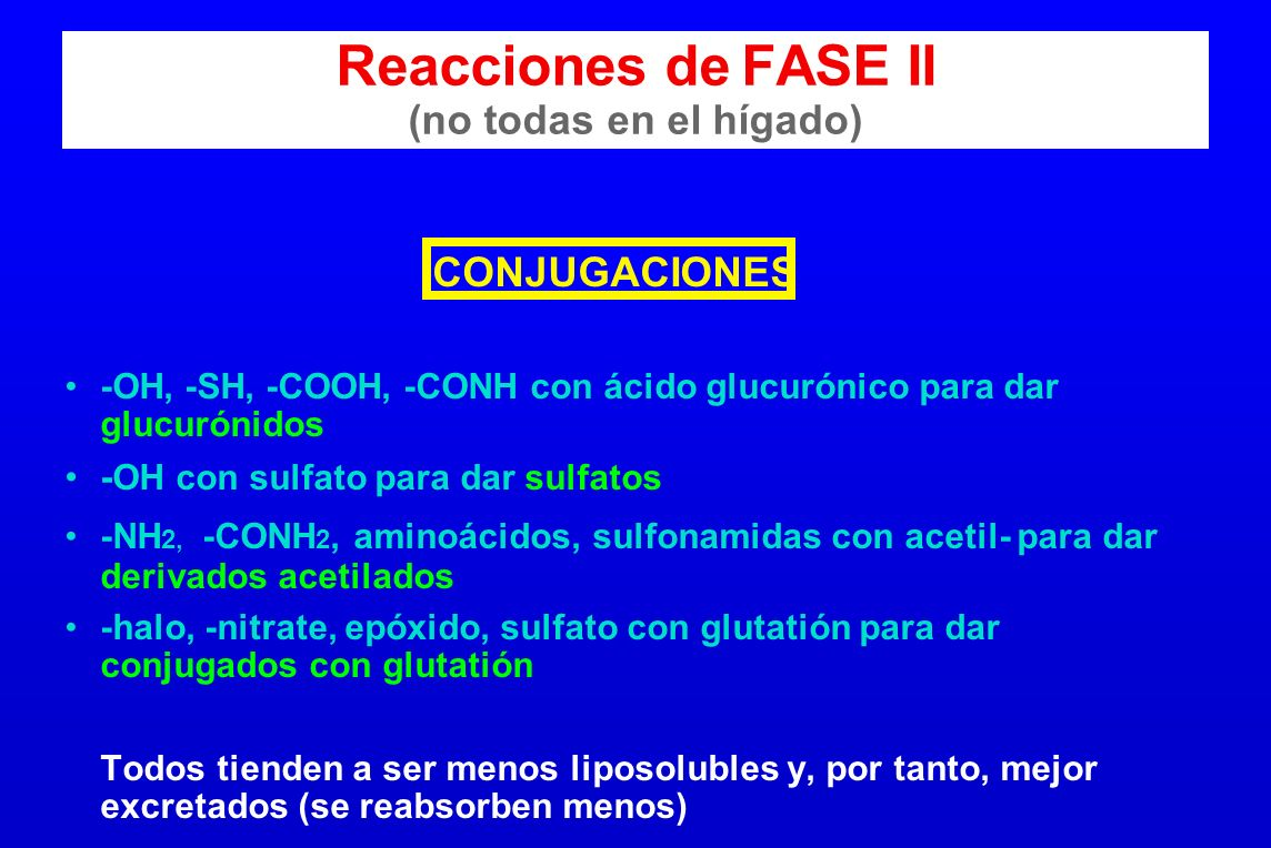 Reacciones de FASE II (no todas en el hígado) CONJUGACIONES -OH, -SH, -COOH, -CONH con ácido glucurónico para dar glucurónidos - OH con sulfato para d