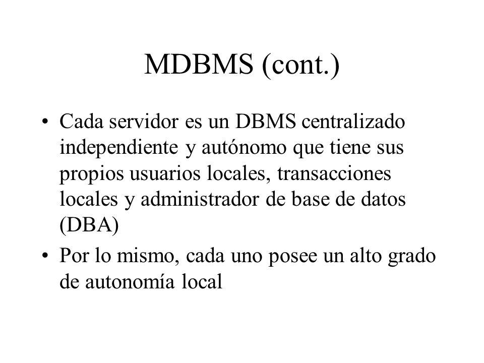 MDBMS (cont.) Cada servidor es un DBMS centralizado independiente y autónomo que tiene sus propios usuarios locales, transacciones locales y administr