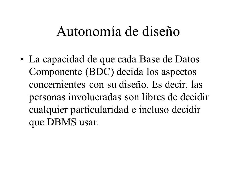 Autonomía de diseño La capacidad de que cada Base de Datos Componente (BDC) decida los aspectos concernientes con su diseño. Es decir, las personas in