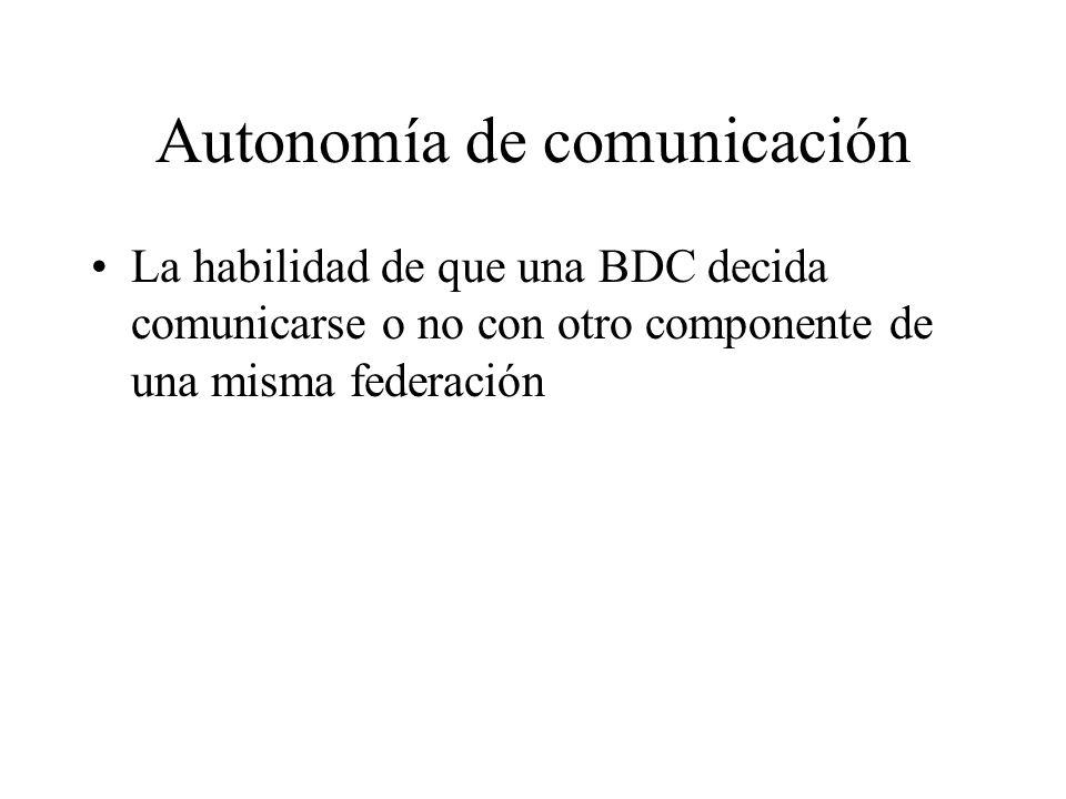 Autonomía de comunicación La habilidad de que una BDC decida comunicarse o no con otro componente de una misma federación