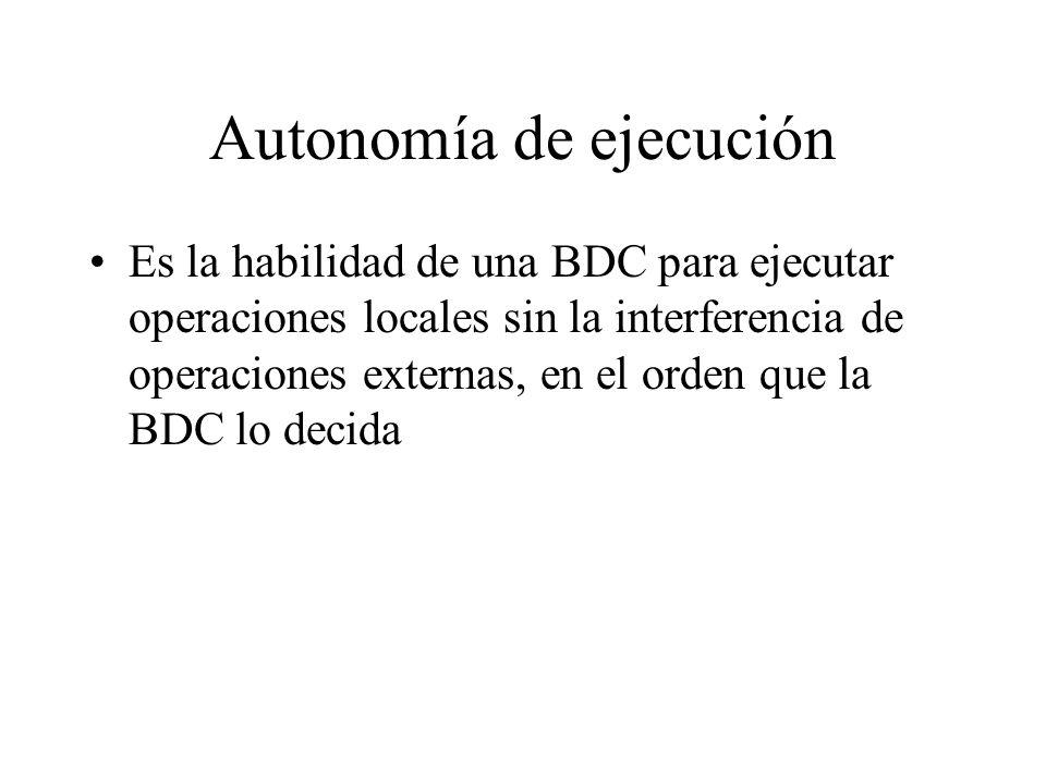 Autonomía de ejecución Es la habilidad de una BDC para ejecutar operaciones locales sin la interferencia de operaciones externas, en el orden que la B
