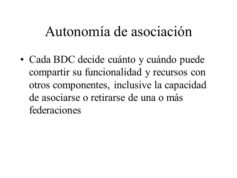 Autonomía de asociación Cada BDC decide cuánto y cuándo puede compartir su funcionalidad y recursos con otros componentes, inclusive la capacidad de a