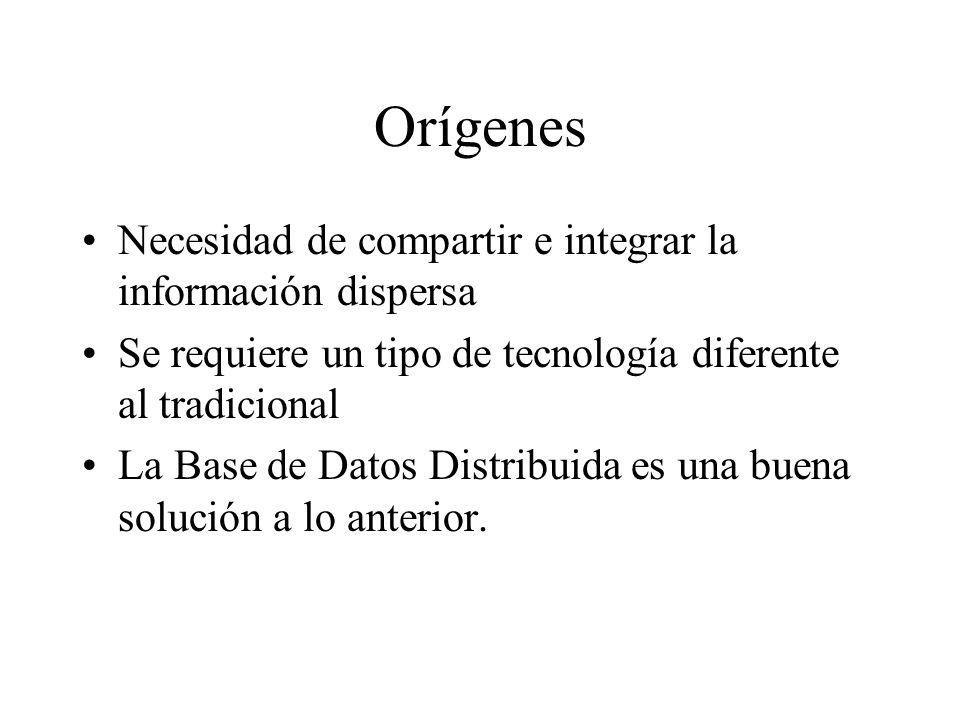 Definición Una Base de Datos Distribuida (BDD) es una colección de datos relacionados lógicamente, pero dispersos entre diversos sitios de una red de computadoras.