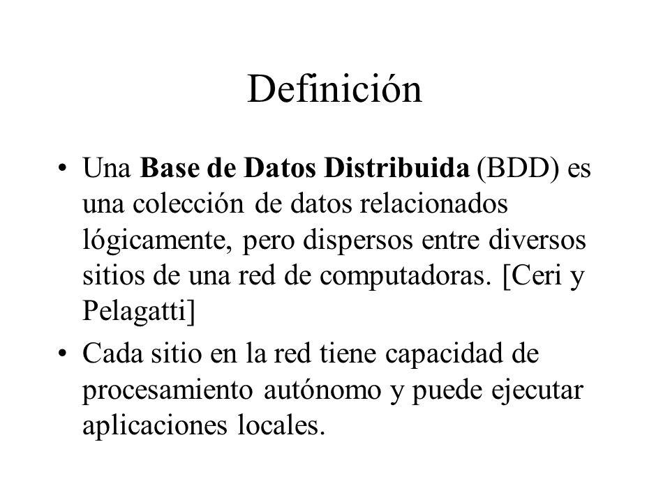 Definición Una Base de Datos Distribuida (BDD) es una colección de datos relacionados lógicamente, pero dispersos entre diversos sitios de una red de