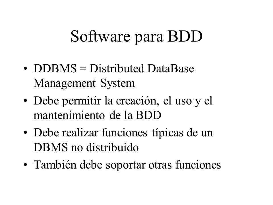 Software para BDD DDBMS = Distributed DataBase Management System Debe permitir la creación, el uso y el mantenimiento de la BDD Debe realizar funcione