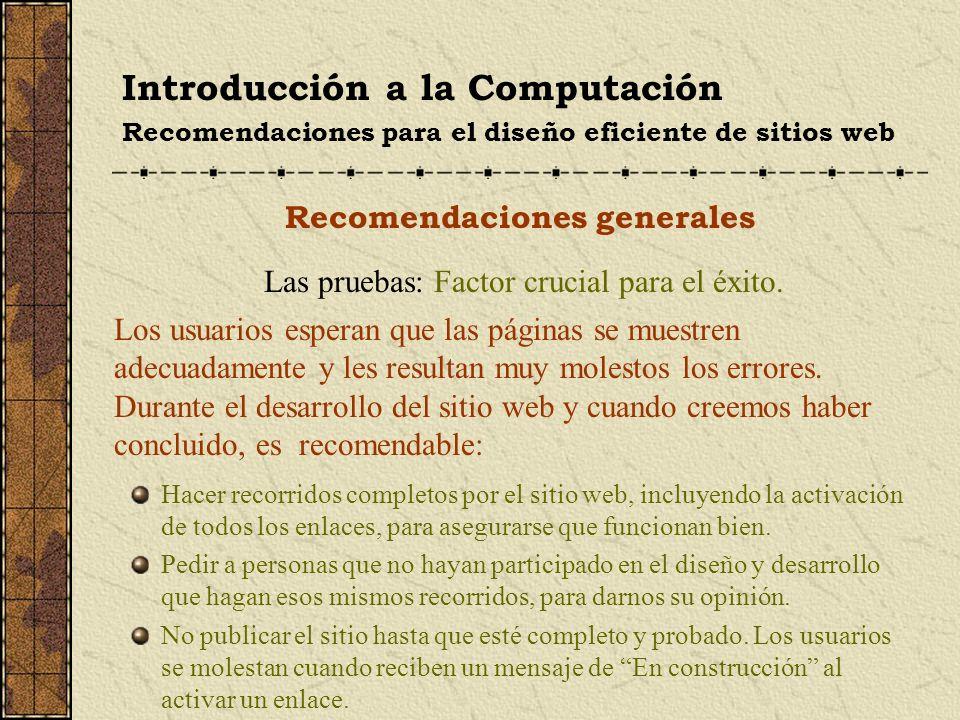 Introducción a la Computación Recomendaciones para el diseño eficiente de sitios web Recomendaciones generales Las pruebas: Factor crucial para el éxi