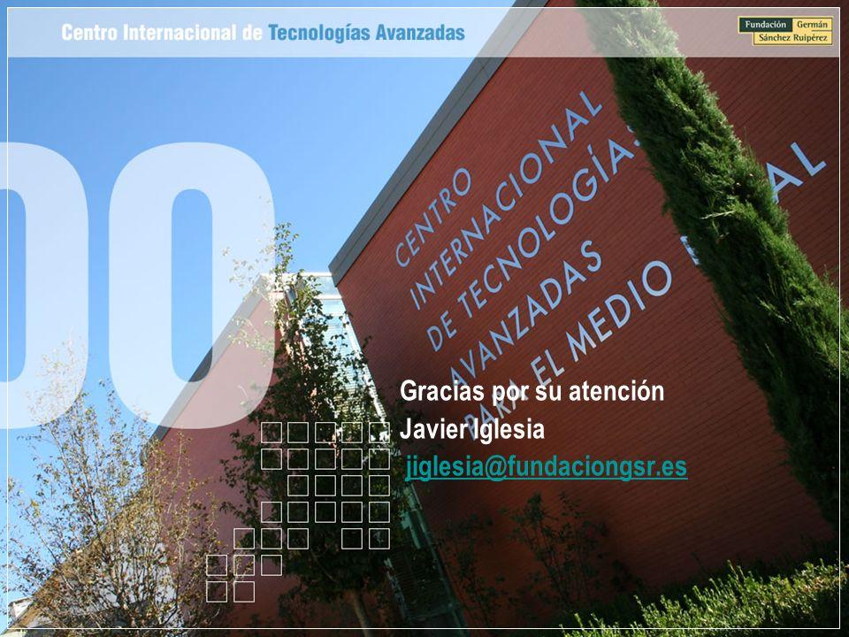 Gracias por su atención Javier Iglesia jiglesia@fundaciongsr.es