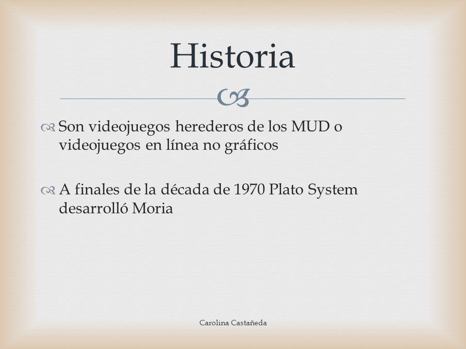 Son videojuegos herederos de los MUD o videojuegos en línea no gráficos A finales de la década de 1970 Plato System desarrolló Moria Historia Carolina
