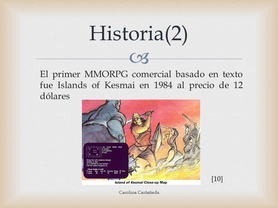 Historia(2) El primer MMORPG comercial basado en texto fue Islands of Kesmai en 1984 al precio de 12 dólares Carolina Castañeda [10]