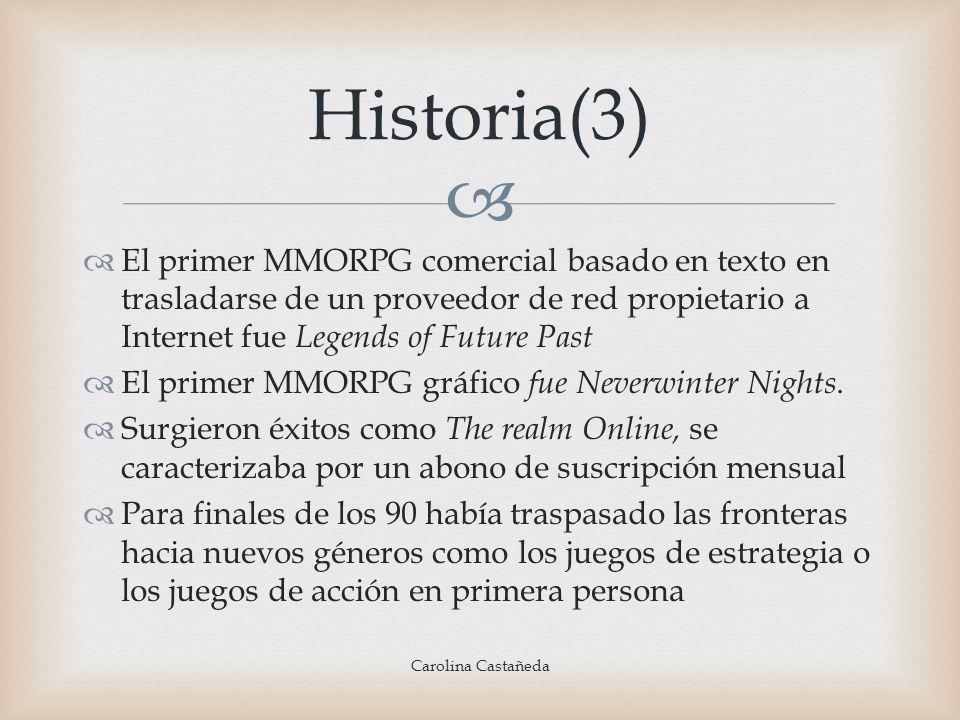 El primer MMORPG comercial basado en texto en trasladarse de un proveedor de red propietario a Internet fue Legends of Future Past El primer MMORPG gr