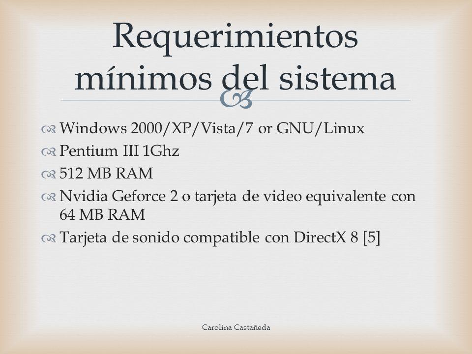 Windows 2000/XP/Vista/7 or GNU/Linux Pentium III 1Ghz 512 MB RAM Nvidia Geforce 2 o tarjeta de video equivalente con 64 MB RAM Tarjeta de sonido compa