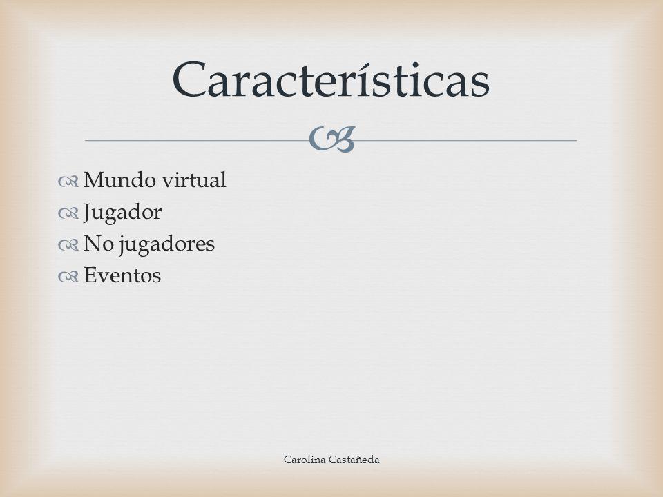 Mundo virtual Jugador No jugadores Eventos Características Carolina Castañeda