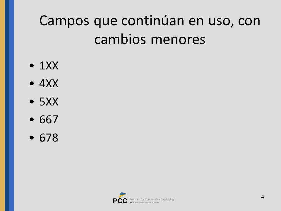 4 Campos que continúan en uso, con cambios menores 1XX 4XX 5XX 667 678