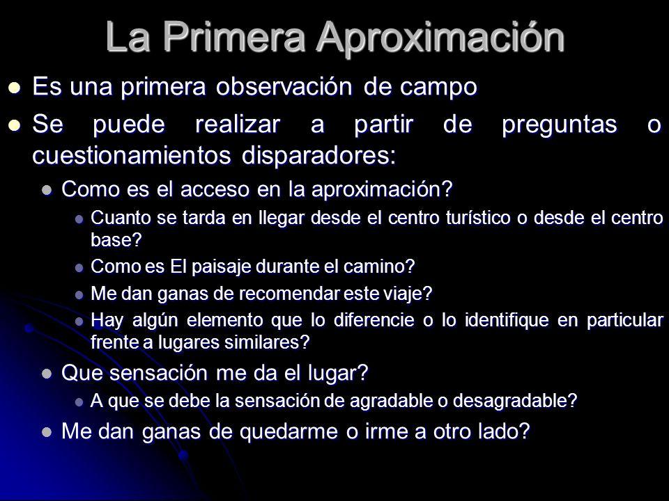 La Primera Aproximación Es una primera observación de campo Es una primera observación de campo Se puede realizar a partir de preguntas o cuestionamie