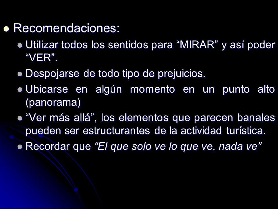 Recomendaciones: Recomendaciones: Utilizar todos los sentidos para MIRAR y así poder VER.