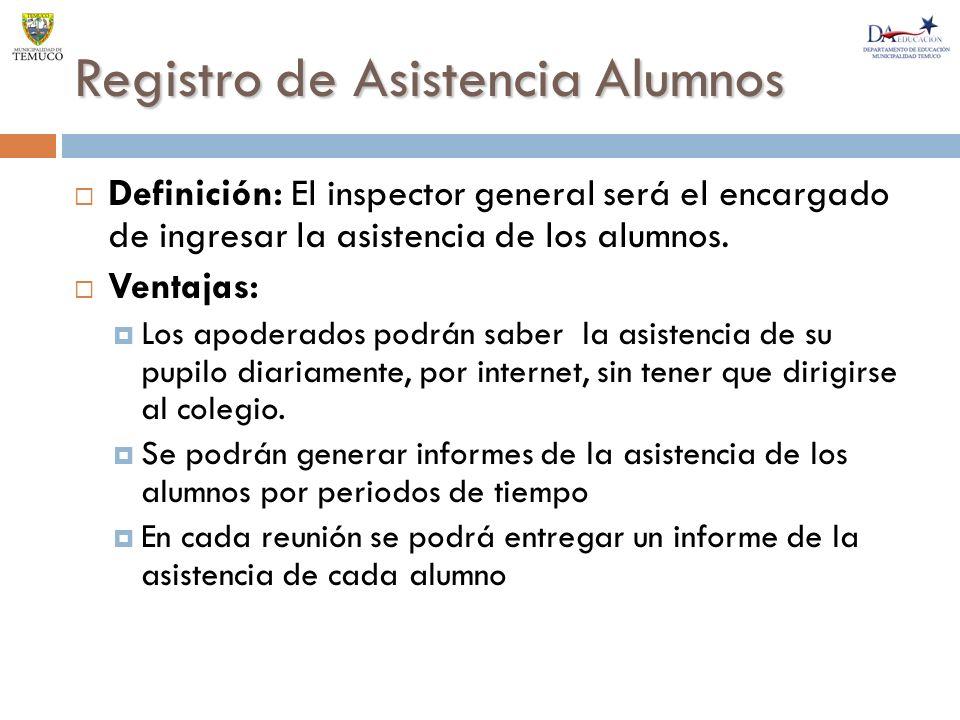 Registro de Asistencia Alumnos Definición: El inspector general será el encargado de ingresar la asistencia de los alumnos.