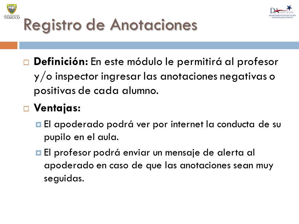Registro de Anotaciones Definición: En este módulo le permitirá al profesor y/o inspector ingresar las anotaciones negativas o positivas de cada alumno.