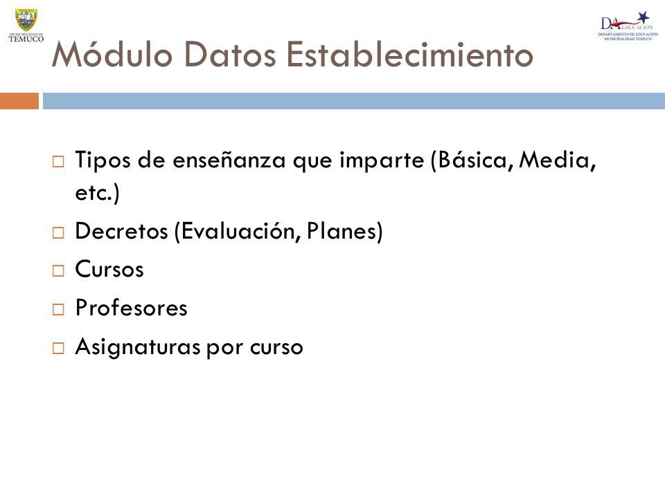 Módulo Datos Establecimiento Tipos de enseñanza que imparte (Básica, Media, etc.) Decretos (Evaluación, Planes) Cursos Profesores Asignaturas por curso