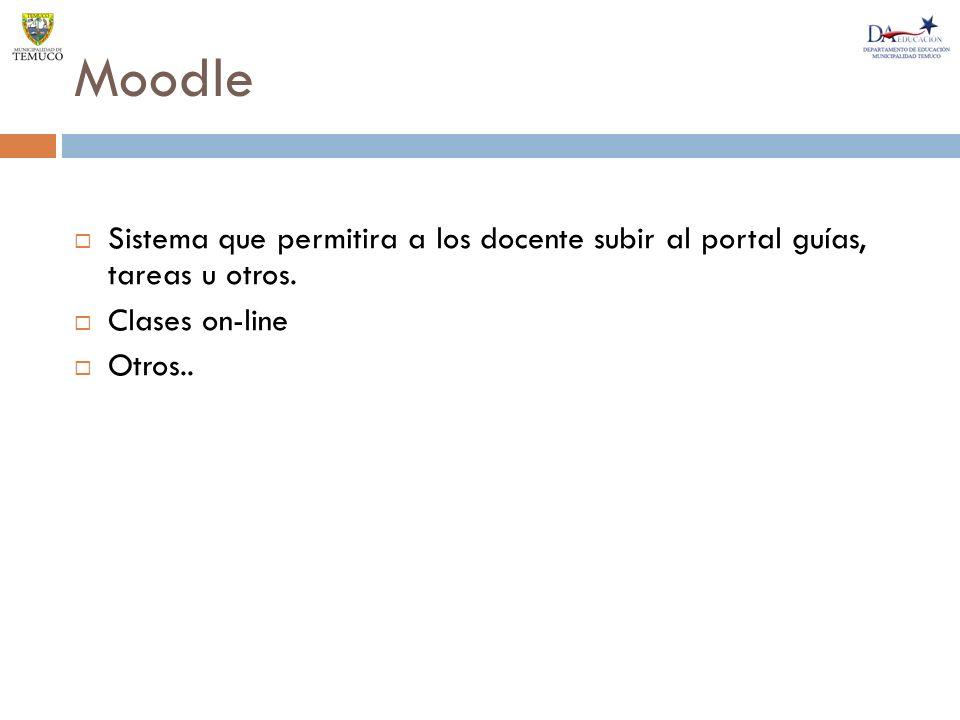 Moodle Sistema que permitira a los docente subir al portal guías, tareas u otros.