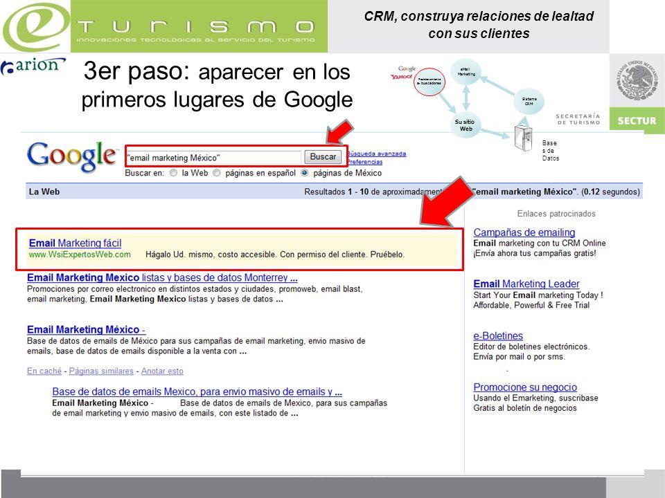 CRM, construya relaciones de lealtad con sus clientes 3er paso: aparecer en los primeros lugares de Google Posicionamiento En buscadores Sistema CRM e