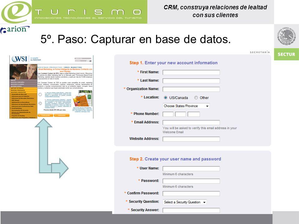 CRM, construya relaciones de lealtad con sus clientes 5º. Paso: Capturar en base de datos.