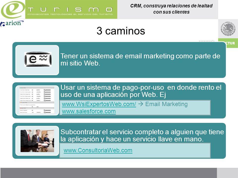 CRM, construya relaciones de lealtad con sus clientes 3 caminos Tener un sistema de email marketing como parte de mi sitio Web. Usar un sistema de pag