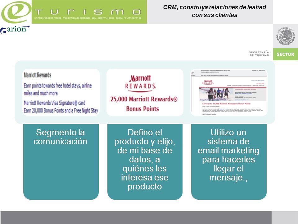 CRM, construya relaciones de lealtad con sus clientes Segmento la comunicación Defino el producto y elijo, de mi base de datos, a quiénes les interesa
