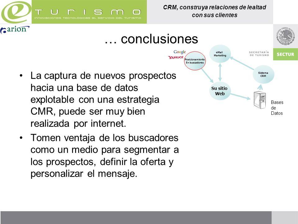 CRM, construya relaciones de lealtad con sus clientes … conclusiones La captura de nuevos prospectos hacia una base de datos explotable con una estrat