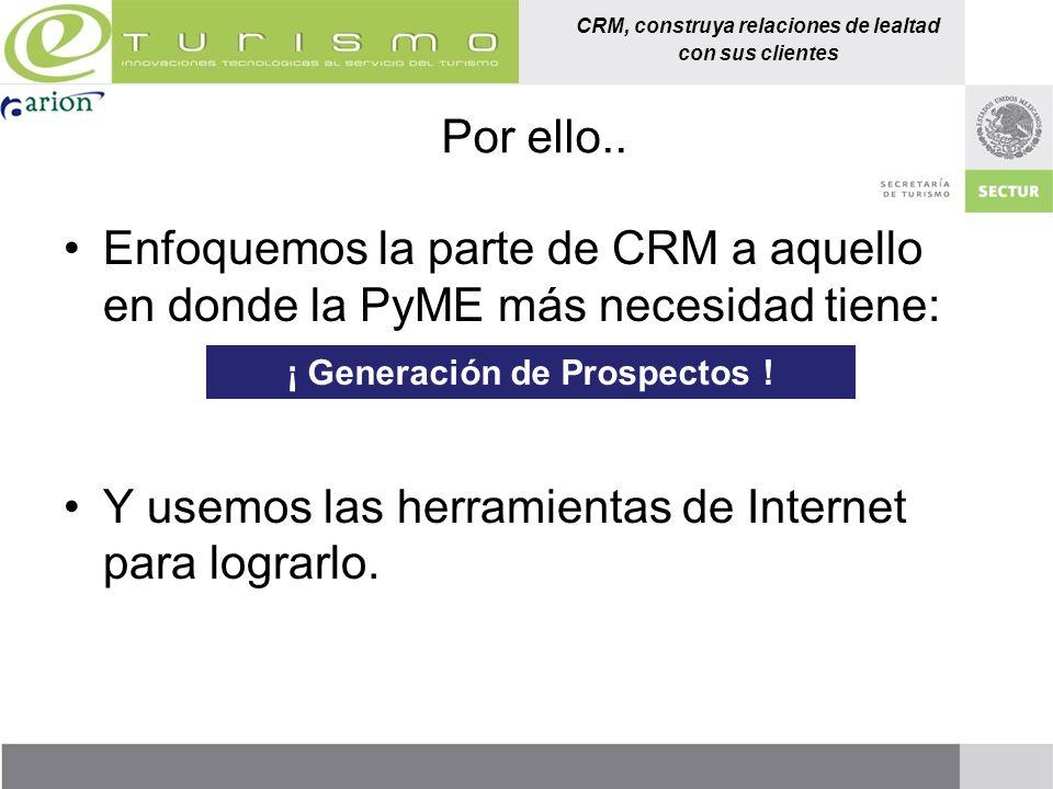 CRM, construya relaciones de lealtad con sus clientes Por ello.. Enfoquemos la parte de CRM a aquello en donde la PyME más necesidad tiene: Y usemos l