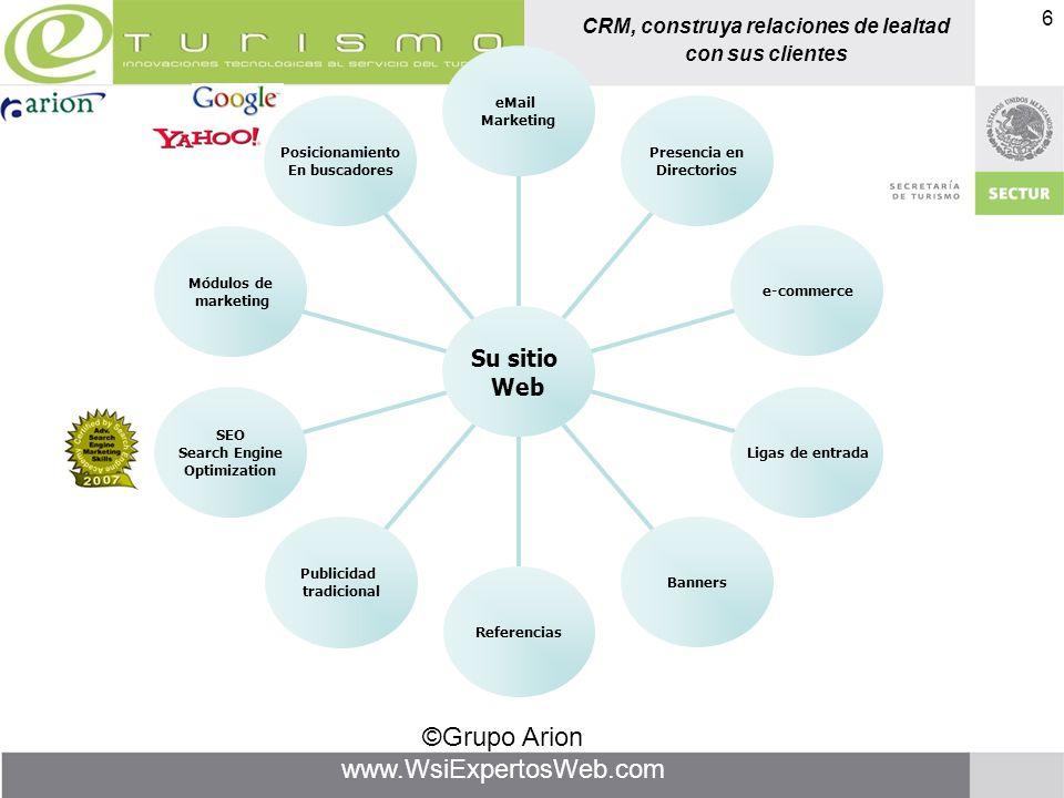 CRM, construya relaciones de lealtad con sus clientes ©Grupo Arion www.WsiExpertosWeb.com 6 Posicionamiento En buscadores Módulos de marketing SEO Sea
