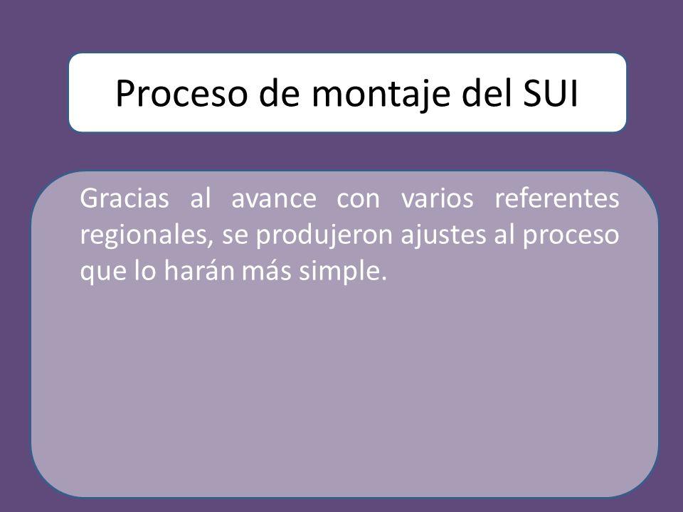 Proceso de montaje del SUI Gracias al avance con varios referentes regionales, se produjeron ajustes al proceso que lo harán más simple.