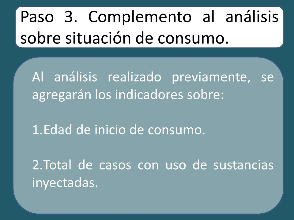 Paso 3. Complemento al análisis sobre situación de consumo.