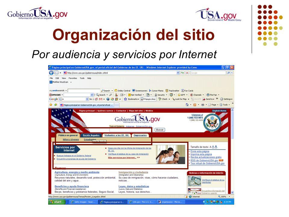 Organización del sitio Por audiencia y servicios por Internet