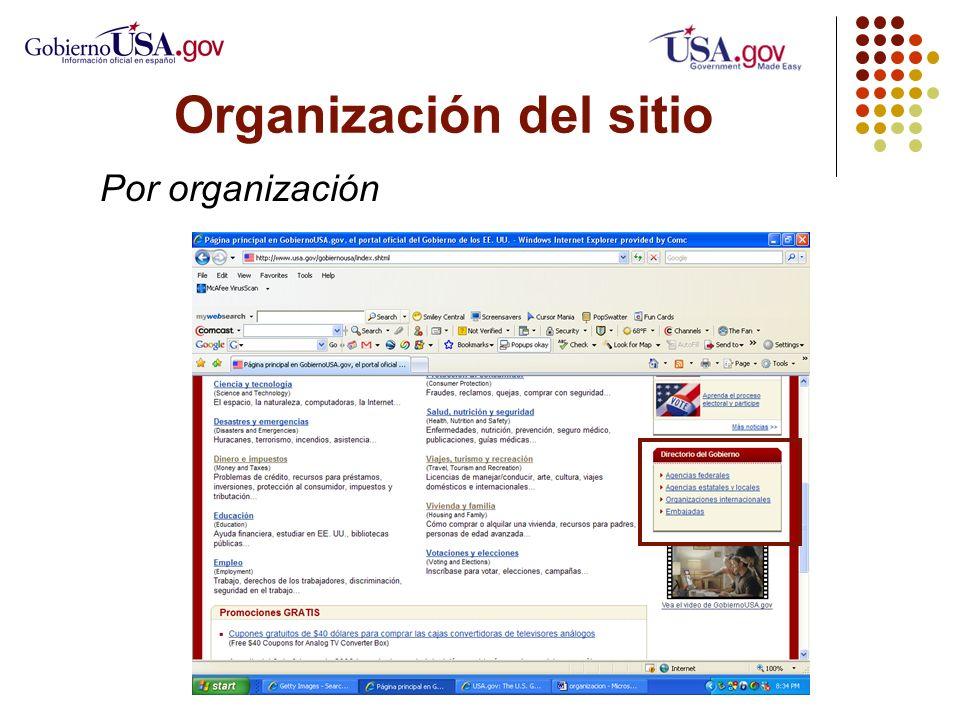 Organización del sitio Por organización