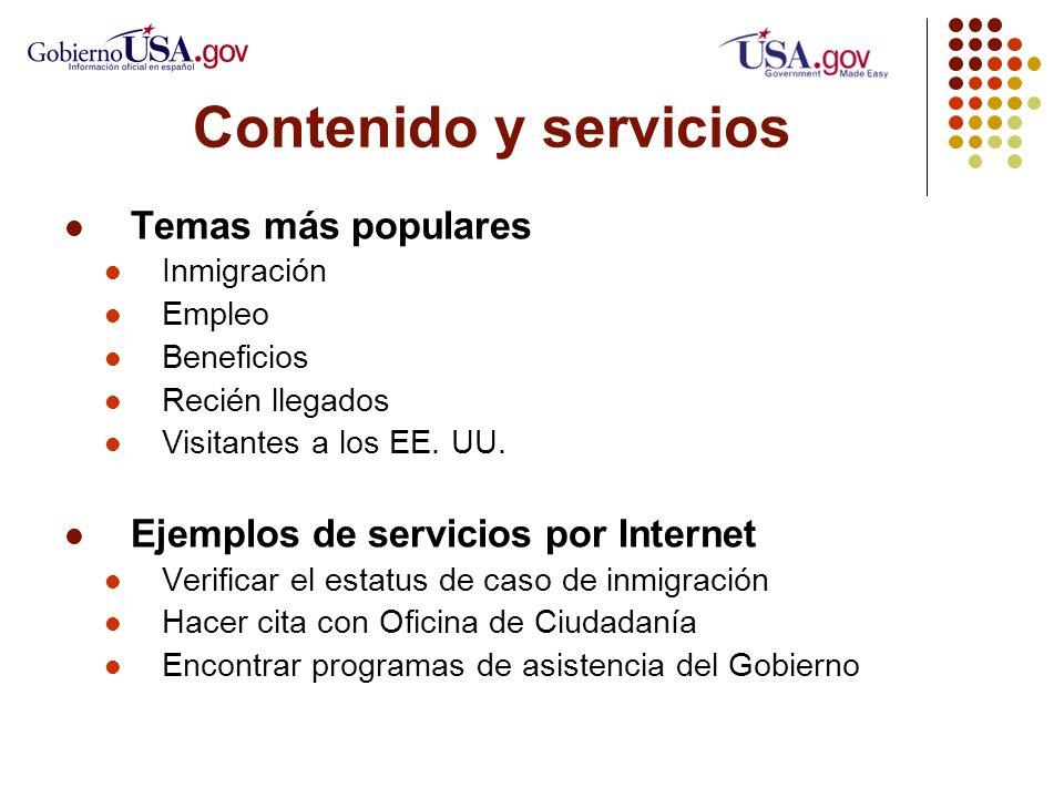 Contenido y servicios Temas más populares Inmigración Empleo Beneficios Recién llegados Visitantes a los EE.