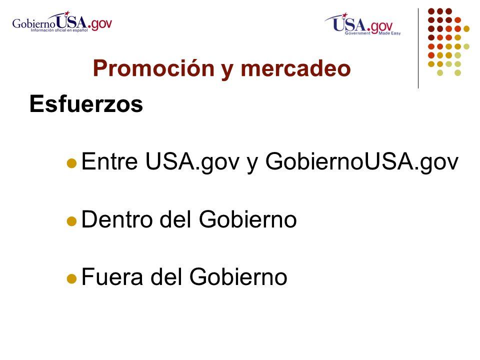 Promoción y mercadeo Esfuerzos Entre USA.gov y GobiernoUSA.gov Dentro del Gobierno Fuera del Gobierno