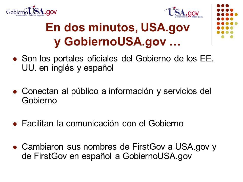 En dos minutos, USA.gov y GobiernoUSA.gov … Son los portales oficiales del Gobierno de los EE.