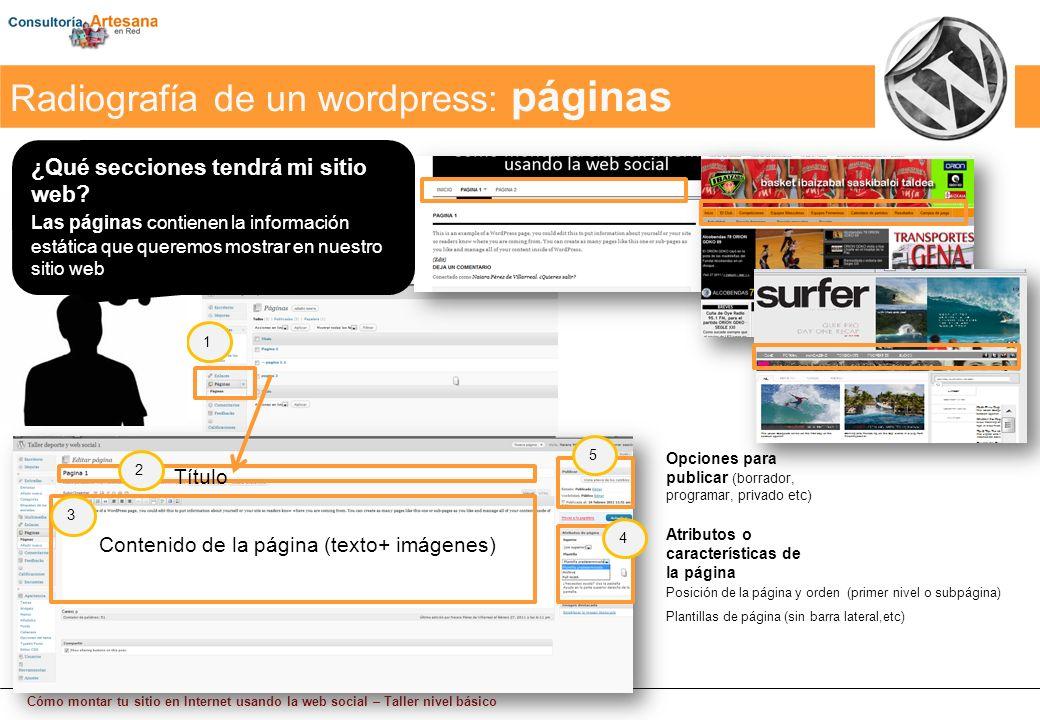 Cómo montar tu sitio en Internet usando la web social – Taller nivel básico Radiografía de un wordpress: páginas Contenido de la página (texto+ imágenes) Posición de la página y orden (primer nivel o subpágina) Plantillas de página (sin barra lateral,etc) Título Atributos o características de la página Opciones para publicar (borrador, programar, privado etc) 1 2 3 4 5 ¿Qué secciones tendrá mi sitio web.
