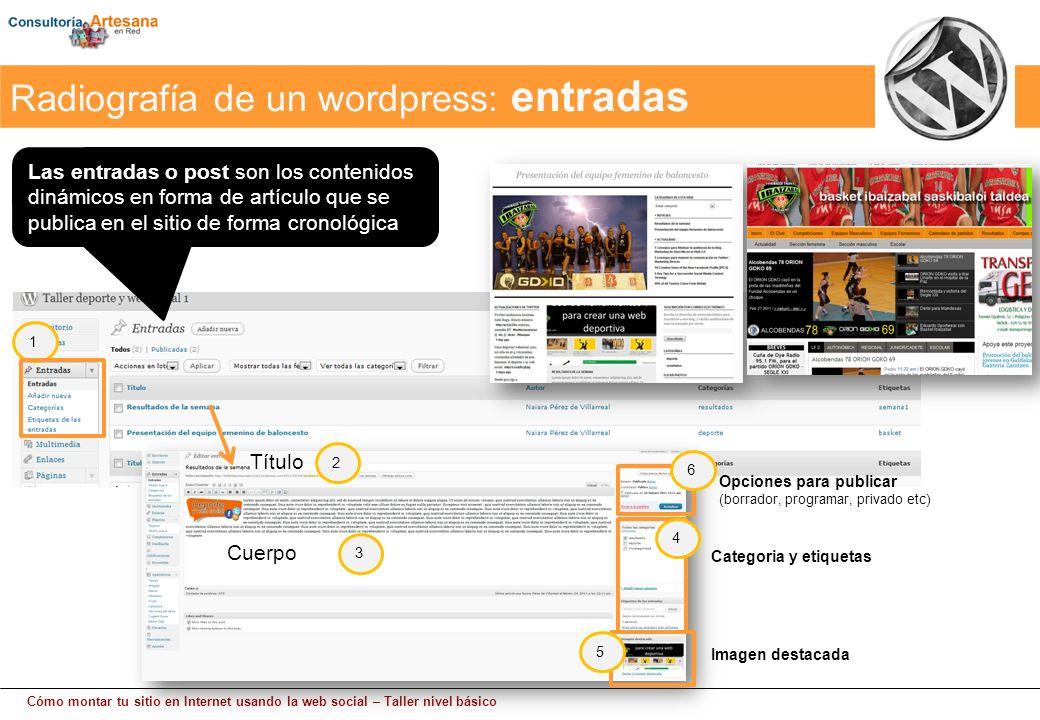 Cómo montar tu sitio en Internet usando la web social – Taller nivel básico Las entradas o post son los contenidos dinámicos en forma de artículo que